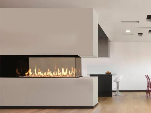 triple sided gas fireplace