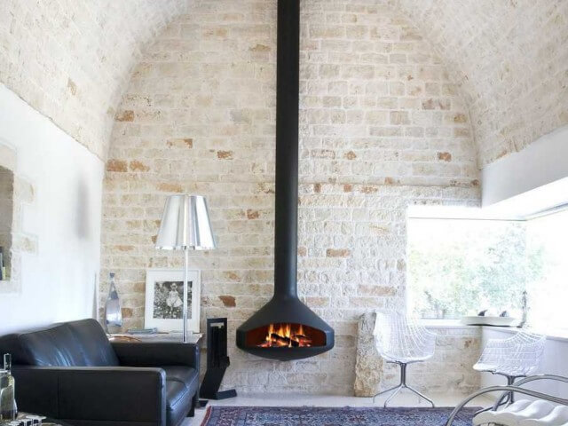 hanging metal wood fireplace
